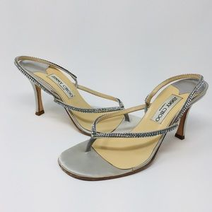 Jimmy Choo Silver Jeweled Heeled Sandals
